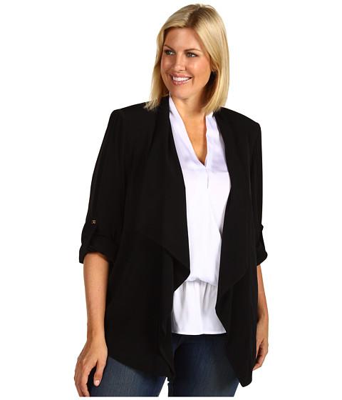 Sacouri Calvin Klein - Plus Size Roll Sleeve Flyaway Jacket - Black