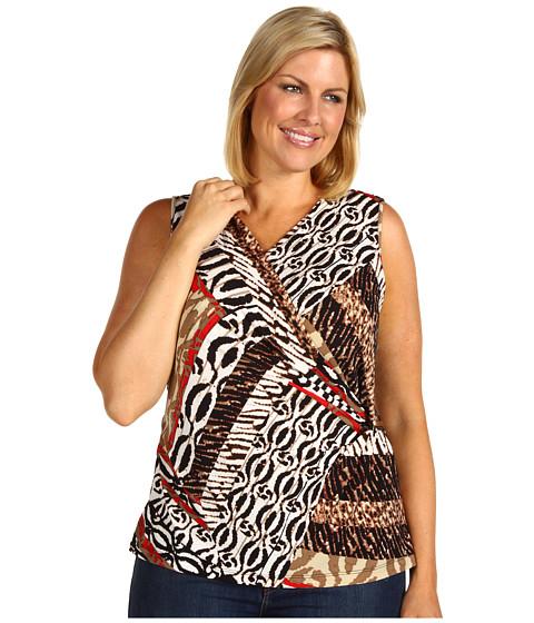 Tricouri Calvin Klein - Plus Size V Neck Drape Top - Rouge Multi Patchwork
