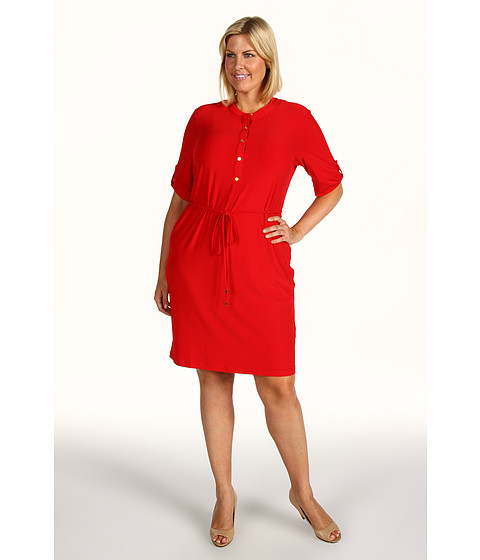 Rochii Calvin Klein - Plus Size Solid Roll Sleeve Dress - Rouge