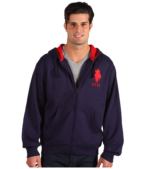 Bluze U.S. Polo Assn - Full Zip L/S Hoodie Thermal/Fleece - Classic Navy
