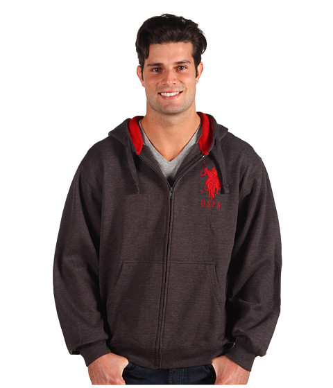 Bluze U.S. Polo Assn - Full Zip L/S Hoodie Thermal/Fleece - Dark Grey