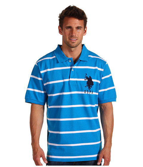 Tricouri U.S. Polo Assn - 2 Color Narrow Stripe Polo - Turq Blue/ White