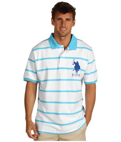 Tricouri U.S. Polo Assn - 2 Color Narrow Stripe Polo - White/ Horizon Blue
