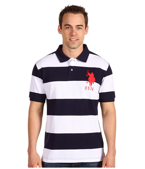 Tricouri U.S. Polo Assn - 2 Color Wide Stripe Polo - Cl Navy/ White