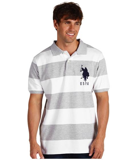 Tricouri U.S. Polo Assn - 2 Color Wide Stripe Polo - Heather Grey/ White