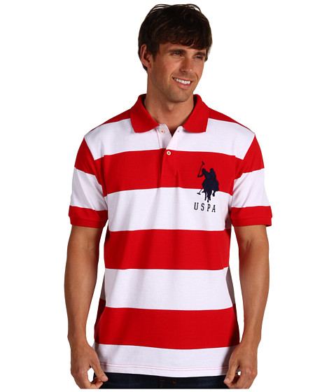 Tricouri U.S. Polo Assn - 2 Color Wide Stripe Polo - Red/ White