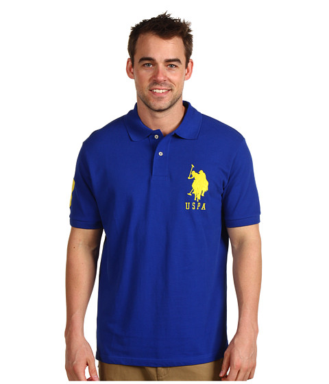 Tricouri U.S. Polo Assn - Solid Polo with Big Pony - Cobalt Blue/Yellow PP