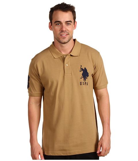 Tricouri U.S. Polo Assn - Solid Polo with Big Pony - Warm Sand/Navy PP