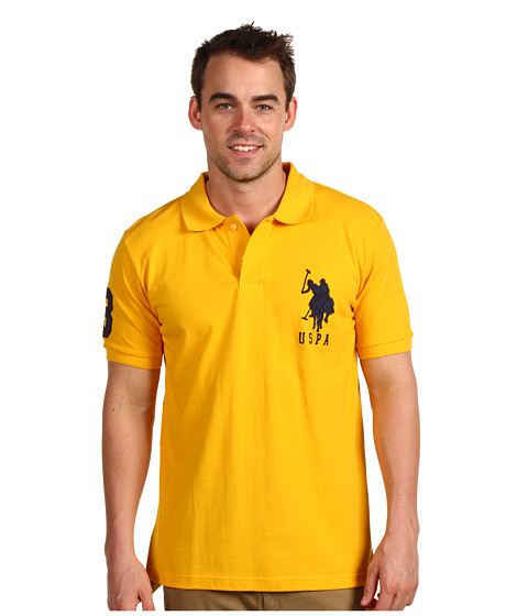 Tricouri U.S. Polo Assn - Solid Polo with Big Pony - Yellow/Navy PP