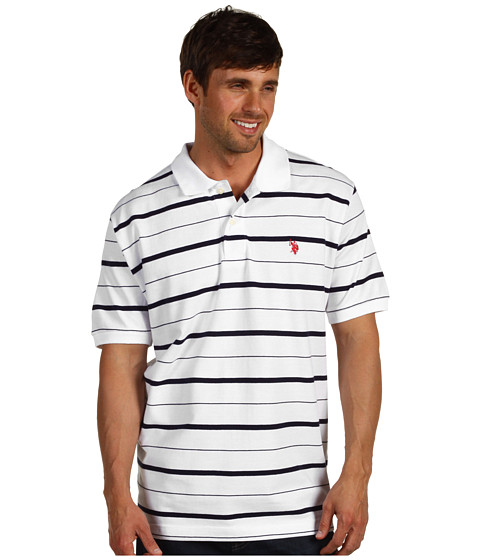 Tricouri U.S. Polo Assn - Yarn Dye Pique Striped Polo - White
