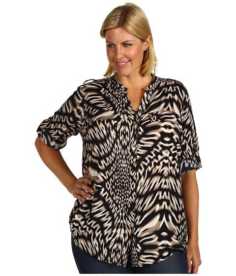 Camasi Calvin Klein - Plus Size Crew Neck Roll Sleeve Top - Black/Flax Multi