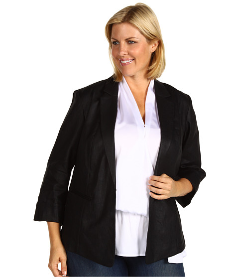 Jachete Anne Klein - Plus Size Glazed Linen Shirt Jacket - Black