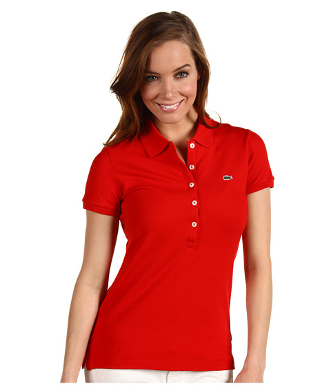 Bluze Lacoste - S/S 5 Button Stretch Pique Polo - Red