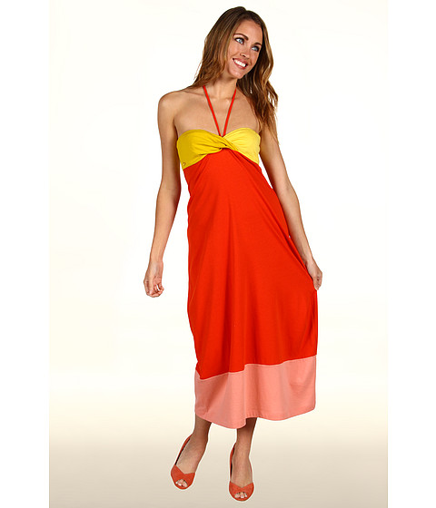 Rochii Lacoste - Colorblock Supple Jersey Tube Dress - Agave Orange/Yolk Yellow
