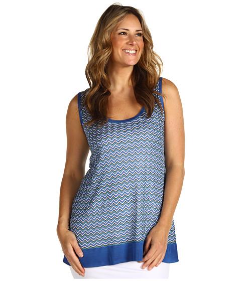 Bluze Anne Klein - Plus Size Zig-Zag Tank - Azul Multi