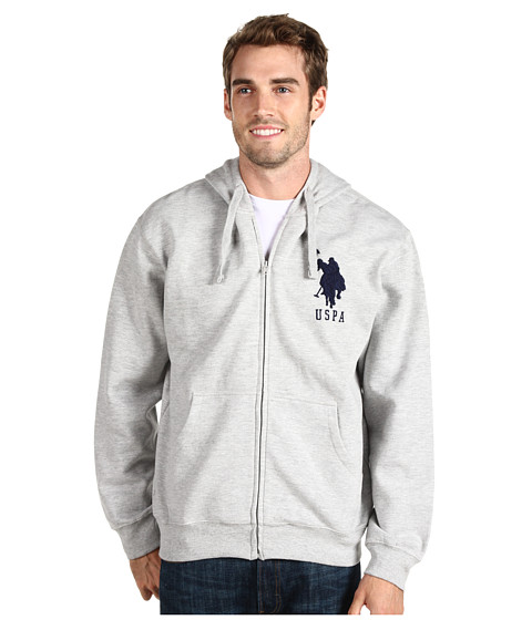 Bluze U.S. Polo Assn - Full Zip Hoodie W/ Contrast Thermal Lining And Big Pony - Light Grey