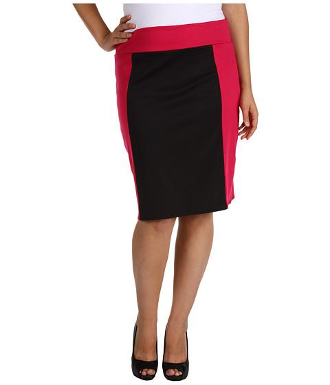 Fuste Christin Michaels - Plus Size Rielle Pencil Skirt - Fuchsia/Black