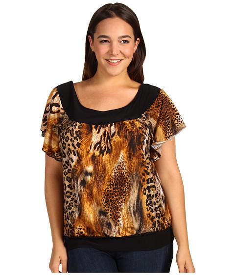 Tricouri Christin Michaels - Plus Size Diondra Blouse - Brown/Black Animal