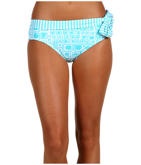 Special Vara Tommy Bahama - Aruba Cubes High Waist Sash Pant w/ Tie - Curacao Aqua/White