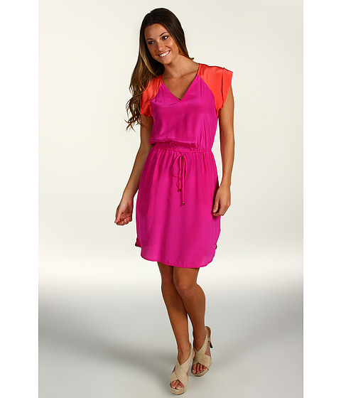 Rochii elegante: Rochie Donna Morgan - V-Neck Elastic Waist Dress w/ Combo Yoke/Cap Sleeve - Pink Glam/Pumpkin