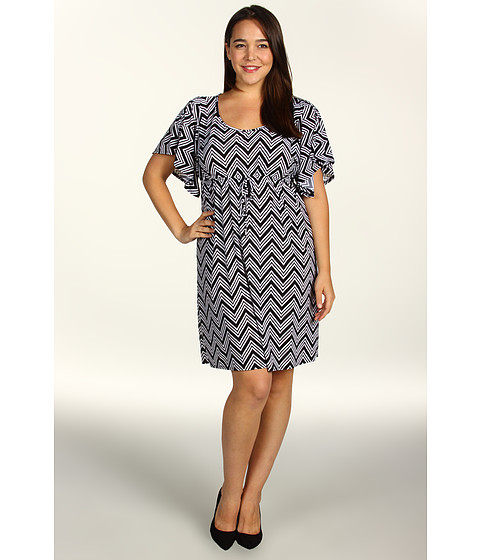 Rochii elegante: Rochie Christin Michaels - Plus Size Kaley Dress - Black/White Print