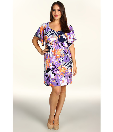 Rochii elegante: Rochie Christin Michaels - Plus Size Kaley Dress - Orange/Lilac