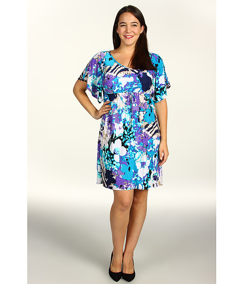 Rochii elegante: Rochie Christin Michaels - Plus Size Kaley Dress - Teal/Purple
