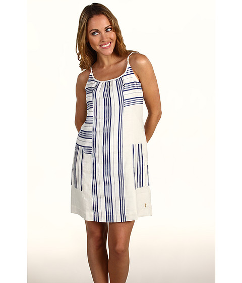 Rochii elegante: Rochie Juicy Couture - Stripe Linen Track Dress - Atlantis/Angel Stripe