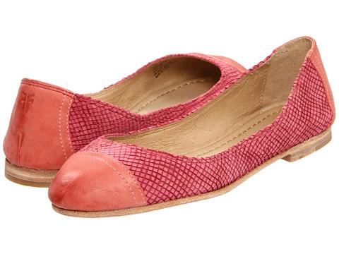 Balerini Frye - Carson Cap Toe Ballet - Coral Textured Nubuck