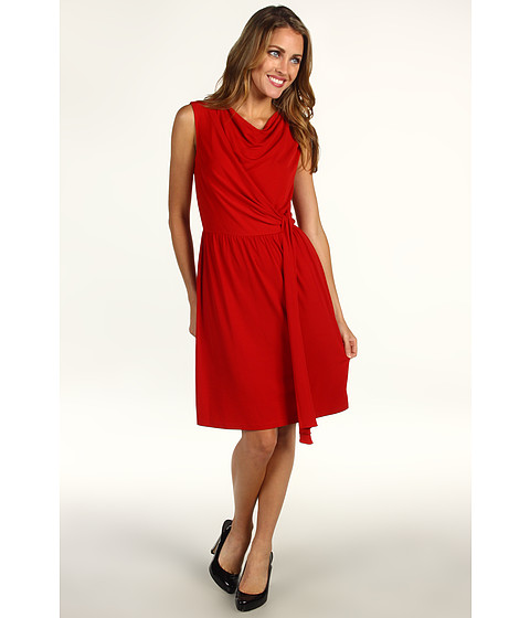 Rochii elegante: Rochie Donna Morgan - Side Draped Extended Shoulder Dress w/ Hanging Drape - Scarlet