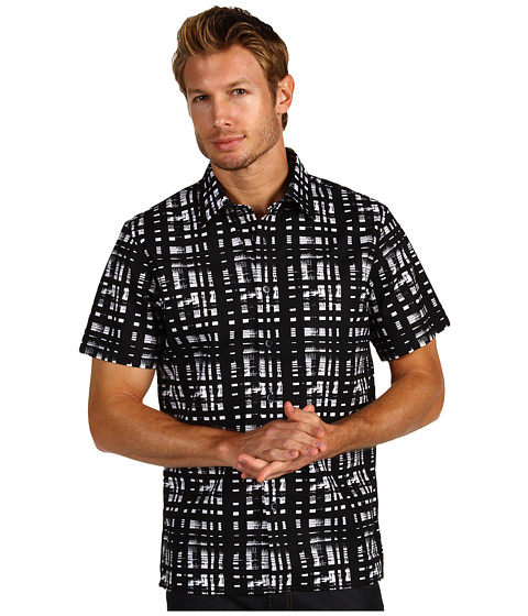 Camasi Michael Kors - Painted Plaid Print Short Sleeve Shirt - Black