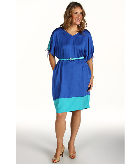 Rochii elegante: Rochie Anne Klein - Plus Size Colorblock Wedge Dress - Azul/Aqua