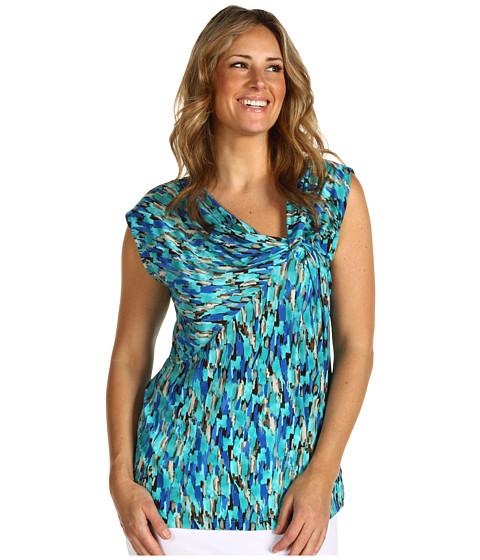 Bluze Anne Klein - Plus Size Abstract Print Twist Front - Azul Multi