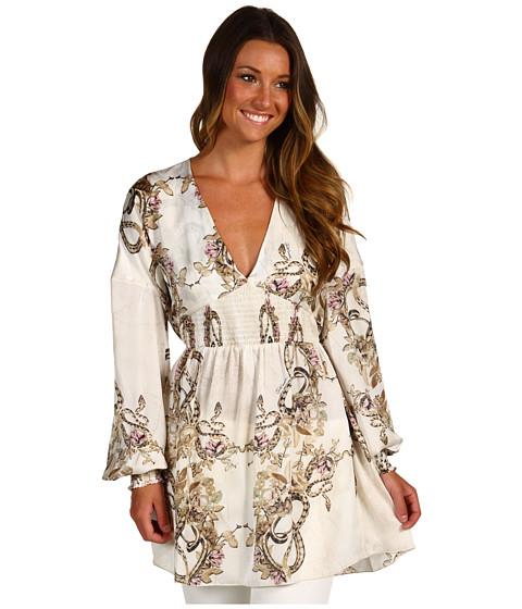 Bluze Just Cavalli - Floral Silk Top - Natural