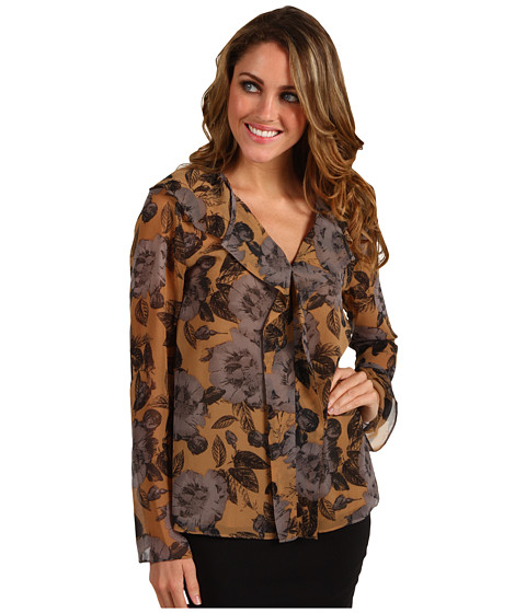 Bluze Anne Klein - Floral Print Bell Sleeve Blouse - Cappuccino