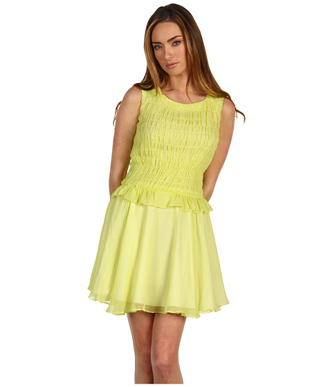 Rochii Z Spoke ZAC POSEN - Chiffon Dress - Acid Yellow