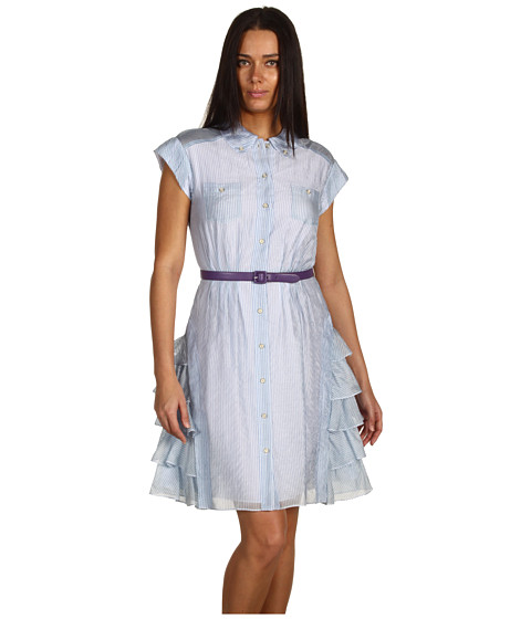 Rochii Z Spoke ZAC POSEN - Striped Chiffon Dress - Seersucker Blue