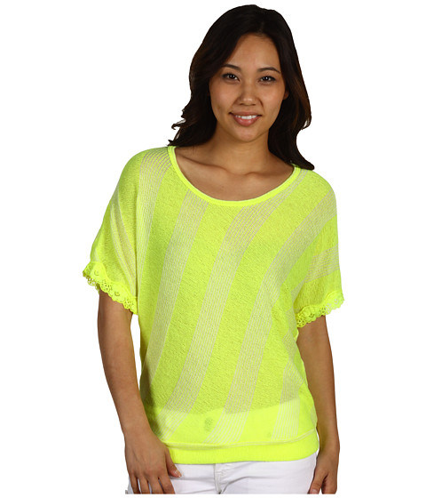 Bluze Culture Phit - Pepper Angled Stripe Top - Fluorescent Yellow