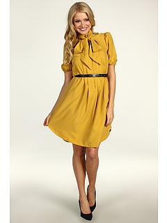 Rochii Jessica Simpson Short Sleeve Tie Collar Shirt Dress w/ Pockets Chinese Yellow | mycloset.ro