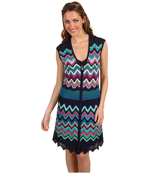 Rochii Laundry by Shelli Segal - Front-Zip Sweater Dress - Midnight Multi