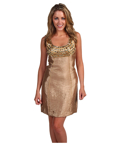 Rochii Laundry by Shelli Segal - Texture Shimmer Shift Dress - Toasted Almond