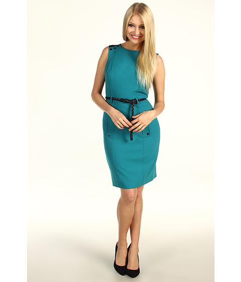 Rochii Calvin Klein - Colorblock Belted Dress - Blue Spruce/Black