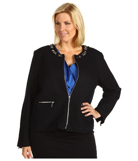 Jachete Michael Kors - Plus Size Boiled Boucle Chain Zip Front Jacket - Black