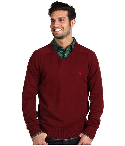Pulovere Original Penguin - Chester V-Neck Sweater - Biking Red