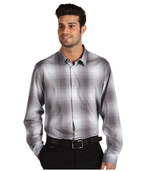 Tricouri Calvin Klein - Large Ombre Plaid L/S Shirt - Smoked Pearl