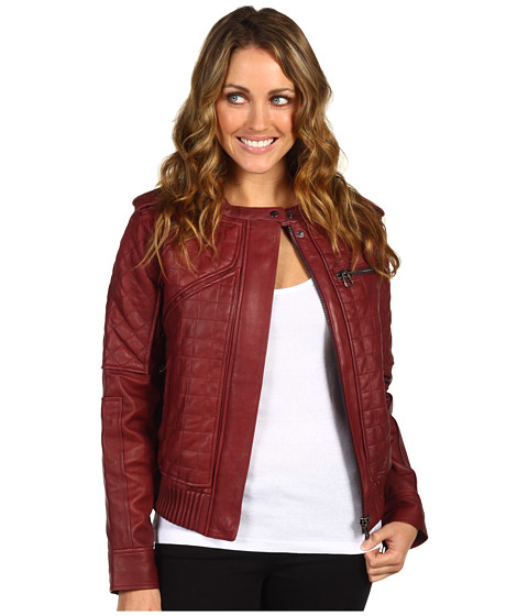 Jachete L.A.M.B. - Quilted Leather Jacket - Oxblood