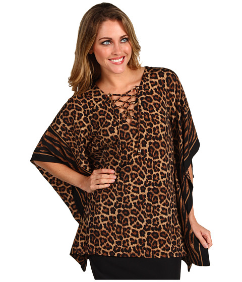 Bluze Michael Kors - Jaguar Print Lace UpTunic - Caramel