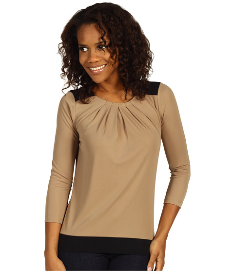 Bluze Anne Klein - 3/4 Sleeve Colorblock Top - Cappuccino