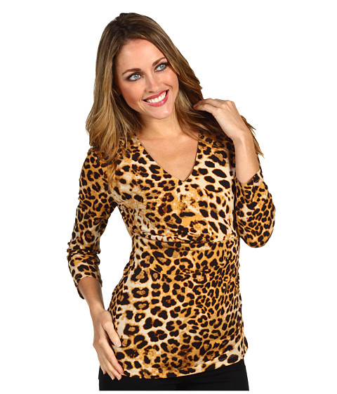 Bluze Anne Klein - Animal Print V-Neck Top - Cappuccino Multi