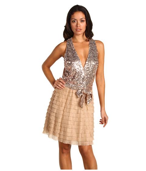 Rochii Badgley Mischka - Mark & James Plunging Neckline Mini Dress - Blush